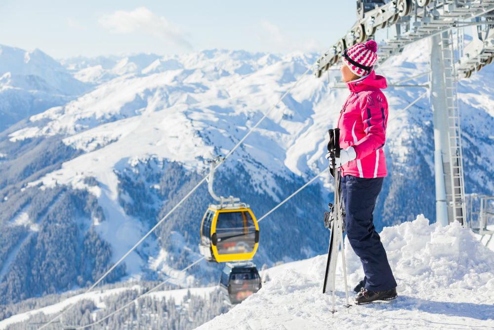 Female Skier in the Mountains